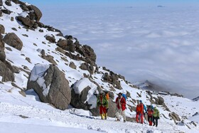 Climbing Alvand Peak, Hamadan, Iran, December 13, 2020. With a height of 3,574 meters above sea level, Alvand is the highest mountain in Hamadan and one of the most beautiful mountains of Iran.