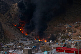 A blaze breaks out after the rupture of an oil pipeline, Chaharmahal and Bakhtiari province, Iran, December 14, 2020.