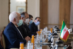 Iranian Foreign Minister, Mohammad Javad Zarif, is seen during his meeting with Afghanistan's National Security Adviser, Hamdullah Mohib, in Tehran, Iran, December 22, 2020.