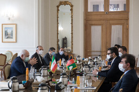 The meeting between Afghanistan's National Security Adviser, Hamdullah Mohib, and Iranian Foreign Minister, Mohammad Javad Zarif, Tehran, Iran, December 22, 2020.