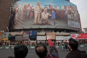 The new mural of Valiasr Square is installed ahead of the martyrdom anniversary of Lieutenant General Qassem Soleimani, Tehran, Iran, December 29, 2020.
