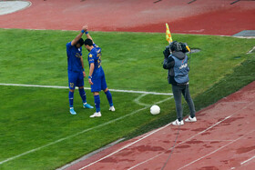 The Tehran derby match is played between Esteghlal FC (Blue kit) and Persepolis FC, Tehran, Iran, January 11, 2020.  The teams drew two-two.
