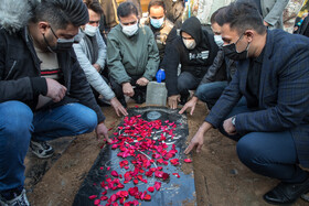 The funeral of Ali Ansarian, the former player of Iran national football team, is held at the Behesht-e Zahra Cemetery, Tehran, Iran, February 4, 2021.