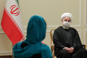 The meeting between the new Bolivian ambassador to Tehran, Romina Guadalupe Pérez Ramos (left), and Iranian President, Hassan Rouhani, Tehran, Iran, February 24, 2021.