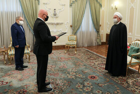 The new Slovakian Ambassador to Tehran, Ladislav Ballek, (front, left) is seen during his meeting with Iranian President, Hassan Rouhani, Tehran, Iran, February 24, 2021.