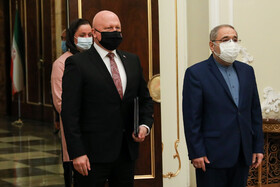 The new Slovakian Ambassador to Tehran, Ladislav Ballek (left), is seen during his meeting with Iranian President, Hassan Rouhani, Tehran, Iran, February 24, 2021.