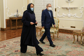The new Romanian ambassador to Tehran, Mirela-Carmen Grecu, is seen during her meeting with Iranian President, Hassan Rouhani, Tehran, Iran, February 24, 2021.