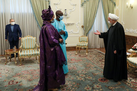 The meeting between Senegal's new ambassador to Tehran, Saliou Niang Dieng, and Iranian President, Hassan Rouhani (right), Tehran, Iran, February 24, 2021.