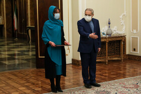 The new Bolivian ambassador to Tehran, Romina Guadalupe Pérez Ramos (left), is seen during her meeting with Iranian President, Hassan Rouhani, Tehran, Iran, February 24, 2021.