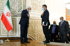 On the sidelines of the meeting between Iraqi Foreign Minister Fuad Hussein and Iranian Foreign Minister Mohammad Javad Zarif, Tehran, Iran, February 27, 2021.