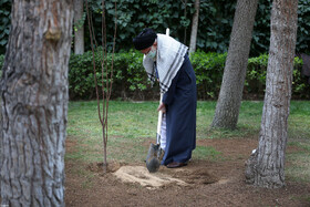 National Tree Planting Day / Leader plants two saplings