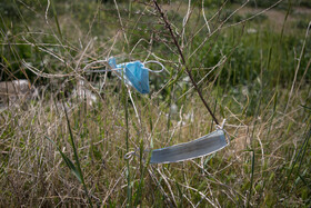 Used face masks have been left in green spaces during the Nowruz holidays, Tehran, Iran, April 2, 2021.