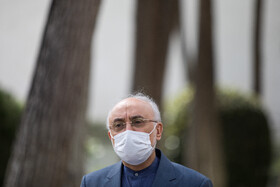 Ali Akbar Salehi, the head of Iran's Atomic Energy Organization, answers the questions of correspondents after the meeting of Cabinet Ministers, Tehran, Iran, April 7, 2021.