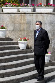 Transport and Urban Development Minister Mohammad Eslami is seen after the end of the meeting of Cabinet Ministers, Tehran, Iran, April 7, 2021.