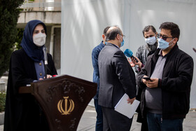 Vice-President for legal affairs Laya Joneydi (left) answers the questions of correspondents after the meeting of Cabinet Ministers, Tehran, Iran, April 7, 2021.