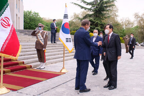 South Korea's Prime Minister Chung Sye-Kyun is welcomed by Iran's First Vice-President Es'haq Jahangiri in Tehran, Iran, April 11, 2021.