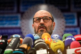 Hossein Dehghan, Iran's former Defense Minister, attends a press conference after registering for the 13th presidential election, Tehran, Iran, May 11, 2021.