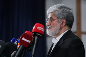 Iranian politician Ali Motahari attends a press conference after registering for the 13th presidential election, Tehran, Iran, May 13, 2021.