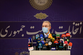 Former Iran's Parliament Speaker Ali Larijani attends a press conference after registering to run in the presidential election, Tehran, Iran, May 15, 2021.