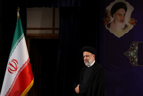 Iran's Judiciary Chief Ebrahim Raeisi attends a press conference after registering to run in the presidential election, Tehran, Iran, May 15, 2021.