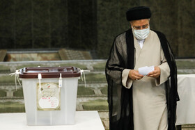 Presidential candidate Ebrahim Raisi casts his vote in the 13th presidential election, Tehran, Iran, June 18, 2021.