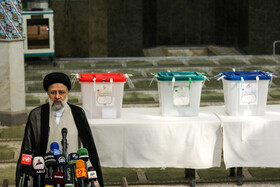 Presidential candidate Ebrahim Raisi delivers a speech after casting his vote in the 13th presidential election, Tehran, Iran, June 18, 2021.