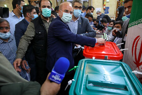 Iran's Parliament Speaker Mohammad Bagher Ghalibaf casts his vote in the 13th presidential election, Tehran, Iran, June 18, 2021.