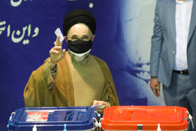 Iran's former President Mohammad Khatami casts his vote in the 13th presidential election, Tehran, Iran, June 18, 2021.