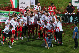 Persepolis FC celebrate as they win the Super Cup match, Tehran, Iran, June 20, 2021. The match was one-nil to Persepolis.
