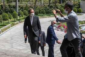 First Vice-President Es'haq Jahangiri (L) is seen on the sidelines of the meeting of Cabinet Ministers, Tehran, Iran, June 30, 2021.