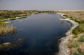 The condition of Gavkhouni Wetland as severe drought has affected many parts of Iran, Isfahan, July 19, 2021.
