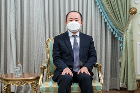 South Korea's new ambassador to Tehran is seen during his meeting with Iranian President, Tehran, Iran, July 20, 2021.