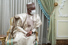 Nigeria's new ambassador to Tehran is seen during his meeting with Iranian President Hassan Rouhani, Tehran, Iran, July 20, 2021.
