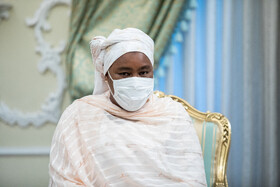 The wife of Nigeria's new ambassador to Tehran is seen during the meeting with Iranian President Hassan Rouhani, Tehran, Iran, July 20, 2021.
