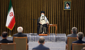 The last meeting between Iran's 12th government and Supreme Leader Ayatollah Ali Khamenei ahead of the shift of government, Tehran, Iran, July 28, 2021.