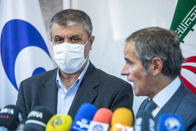 A joint press conference is held between the Director-General of the International Atomic Energy Agency Rafael Grossi and the head of Iran's Atomic Energy Organization Mohammad Eslami, Tehran, Iran, September 12, 2021.