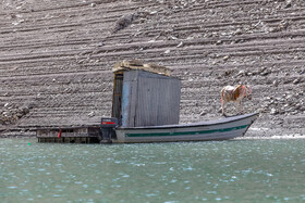 The current situation of Amirkabir Dam, Karaj, Iran, October 10, 2021. It is one of the five main dams providing drinking water for Tehran.