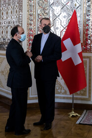 The meeting between the president of Swiss National Council Andreas Aebi and Iranian Foreign Minister Hossein Amir-Abdollahian, Tehran, Iran, October 12, 2021.