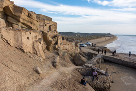 The location for the Iranian movie of 'Muhammad: The Messenger of God' at the Bonud beach, Asaluyeh, Bushehr Province, Iran, February 19, 2021.