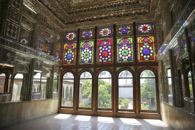 The art of Āina-kāri in Zinat al-Molk House, Shiraz, Iran, August 5, 2020. Āina-kāri is a kind of interior decoration made by Iranian artists who assemble finely cut mirrors together in geometric, calligraphic or foliage forms.