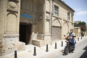 The entrance of Zinat al-Molk House is seen in the photo, Shiraz, Iran, August 5, 2020. Zinat al-Molk House boasts amazing architecture and the art of Āina-kāri (a kind of interior decoration made by Iranian artists who assemble finely cut mirrors together in geometric, calligraphic or foliage forms.), as well as a path below the level of the ground which connects the House with the Garden of Narenjestan-e Qavam.