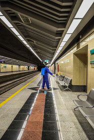 Underground stations are disinfected in order to curb the spread of the new coronavirus in Isfahan, Iran, February 22, 2020.
