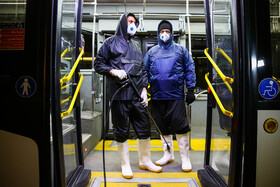 Buses are disinfected in order to curb the spread of the new coronavirus in Isfahan, Iran, February 22, 2020.