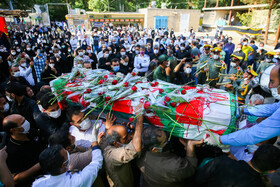 The emblematic funeral ceremony of Ali Mansouri, a member of hospital staff who lost his life because of the coronavirus, Isfahan, Iran, July 30, 2020.