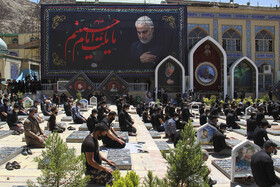 Mourners of Imam Hussain offer the noon prayer of Ashura Day in Kerman, Iran, August 30, 2020.