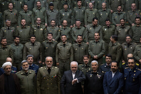 Iranian Foreign Minister Mohammad Javad Zarif (front, M) is present at AJA University of Command and Staff (DAFOOS) in Tehran, Iran, February 3, 2020.