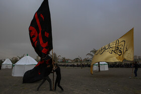Ta'zieh performance of the martyrdom of Imam Hussain (peace be upon him) on Ashura Day, Mashhad, Iran, August 30, 2020.