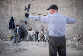 People in Golshahr City practice archery for recreation, Mashhad, Iran, April 26, 2021. Some Golshahr residents, mostly elderly Afghan immigrants, have turned to archery for having leisure during their retirement.