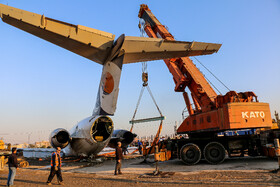 The Boing MD of Caspian Airlines which skidded off the runway due to technical problems at Mahshahr Airport is transferred into the Airport, Khuzestan, Iran, January 27, 2020.