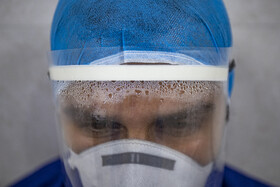 One of the staff of Razi hospital is seen in the photo, Ahvaz, Iran, May 11, 2020. The coronavirus patients are admitted to Razi Hospital.